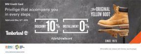 Diskon 10% + Cicilan 0% 3 Hingga 6 Bulan di Timberland dengan Kartu Kredit BNI