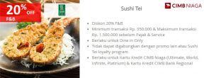Diskon 20% di Sushi Tei dengan Kartu Kredit CIMB Niaga