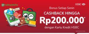 Cashback Rp200.000 ke TokoCash Setiap Senin dengan Kartu Kredit HSBC