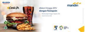 Diskon 20% dengan Fiestapoin di Carls JR dengan Kartu Kredit Mandiri