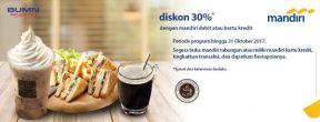 Diskon 30% di Cuppa Coffee tiap transaksi dengan Kartu Kredit Mandiri