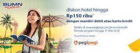 Diskon hotel dan tiket pesawat + Cicilan 0% s.d 12 Bulan di Pegipegi dengan Kartu Kredit Mandiri