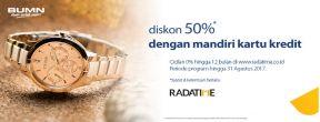 Diskon 50% + Cicilan 0% di Radatime dengan Kartu Kredit Mandiri