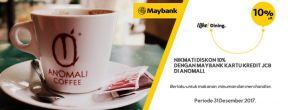 Nikmati diskon 10% di Anomali Coffee dengan Maybank Kartu Kredit JCB