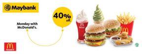 Diskon 40% Setiap Hari Senin dengan Maybank Kartu Kredit di McDonald's