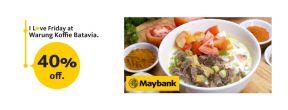 Diskon 40% dengan Maybank Kartu Kredit di Warung Koffie Batavia Makassar
