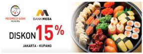 Diskon 15% di Pecopeco Sushi Jakarta dan Kupang dengan Kartu Kredit Mega
