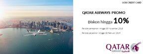 Diskon hingga 10% Qatar Airways dengan Kartu Kredit UOB