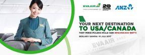 Promo Tiket Pergi Pulang USA/Canada dengan EVA AIR mulai 10 juta an dengan Kartu Kredit ANZ