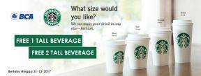 Beli 1 Gratis 1 + Gratis Upsize Starbucks Coffee dengan Kartu Kredit BCA