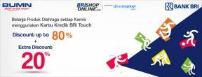 Diskon s.d 80% + Ekstra Diskon 20% Spesial Dinomarket Asian Games dengan Kartu Kredit BRI