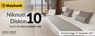 Diskon 10% Gran Melia Hotel dengan Maybank JCB Card