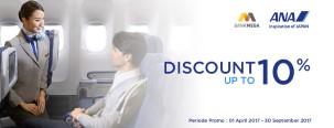 Diskon Hingga 10% Maskapai ANA dengan Kartu Kredit Mega
