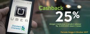 Promo Cashback Uber 25% dengan Kartu Kredit Standard Chartered
