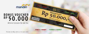 Bonus Voucher Rp50.000 di Ranch Market dan Farmers Market dengan Kartu Kredit Mandiri