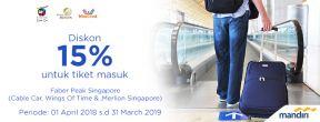 Faber Peak Singapore (Cable Car, Wings Of Time & ,Merlion Singapore) Diskon 15% untuk tiket masuk dengan Kartu Kredit Mandiri