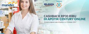 Cashback 30ribu di Apotik Century Online dengan Kartu Kredit Mandiri