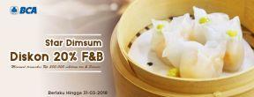 Diskon 20% F&B di Star Dimsum dengan Kartu Kredit BCA