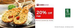 Diskon 20% F&B di Sushi Tei dengan Kartu Kredit CIMB Niaga