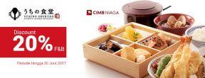 Diskon 20% F&B di Uchino Shokudo dengan Kartu Kredit CIMB Niaga